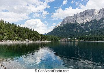 Eibsee, mountain lake in the Bavarian Alps