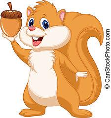 eichhörnchen, karikatur, mit, nuß