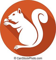 eichhörnchen, mit, haselnusskern, ikone