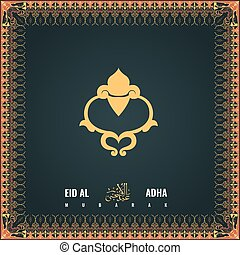 Eid Adha calligraphy of text with colourful floral design border