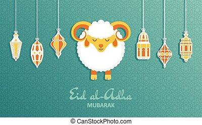 Eid Al Adha Background. Islamic Arabic lantern and sheep. ...