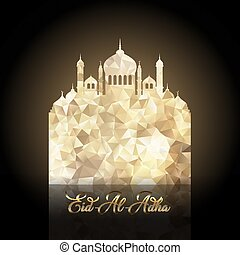 Eid Al Adha background with low poly mosque design