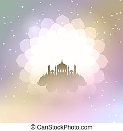 Eid Al Adha background with mosque silhouette 2306