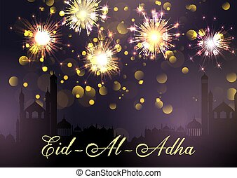Eid Al Adha background with mosques and fireworks design