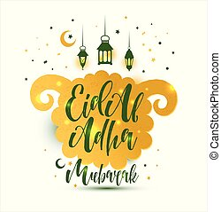 Eid Al Adha Calligraphy Text with sheep illustration for eid...