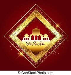 Eid Al Adha decorative background with mosques in glittery gold frame