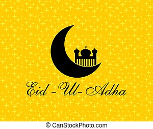 Eid Al Adha mubarak background design with crescent moon and mosque