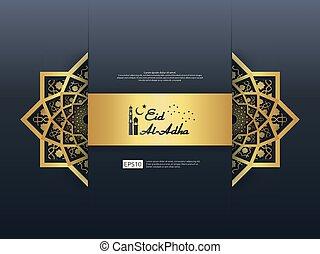 Eid Al Adha Mubarak greeting Design. abstract gold color...