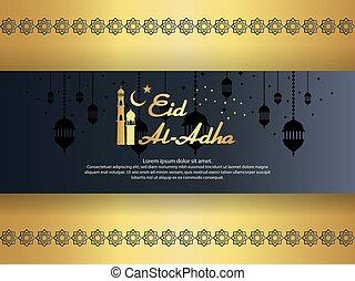 Eid al Adha Mubarak islamic greeting card design with...