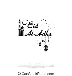 Eid al Adha Mubarak text design for islamic greeting card...