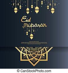Eid al Adha or Fitr Mubarak islamic greeting card design....