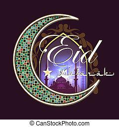 Eid Al Fitr greeting card - Calligraphy of Arabic text, Eid...