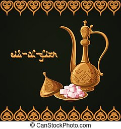 Eid-al-Fitr greeting card template with traditional arabic kettle, lokum, golden ornament and text on green background.