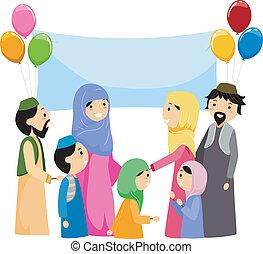 Illustration of Muslims Celebrating Eid al Fitr