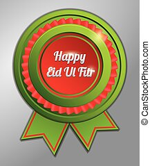 eid al fitr red green badge