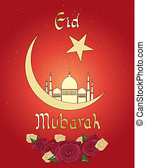 an illustration of an eid greeting card with islamic crescent moon mosque and roses on a red background
