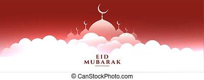 eid, celestial, escena, mezquita, bandera, mubarak
