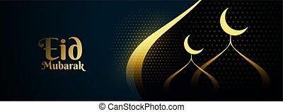 eid, elegante, bandera, dorado, mezquita, diseño, mubarak
