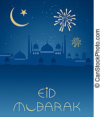 eid happiness - an illustration of an eid greeting card with...
