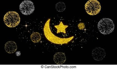 Eid Islamic Icon on Glitter Golden Particles Firework. - Eid...