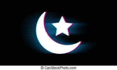 Eid Islamic Symbol on Glitch Retro Vintage Animation. - Eid...