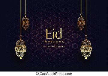 eid, linternas, dorado, fiesta, islámico, atractivo, plano de fondo