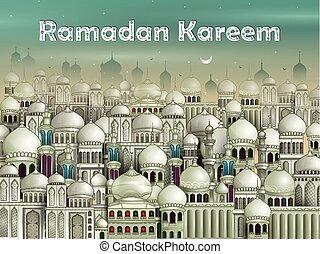 eid), mecset, díszes, mubarak, eid, (happy, háttér, ramadan
