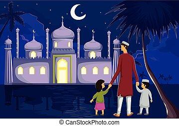 eid, muçulmano, lua, família, observar