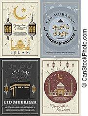 Eid Mubarak and Ramadan Kareem holidays - Islam religious...
