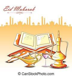 Eid Mubarak background - vector illustration of drink and...