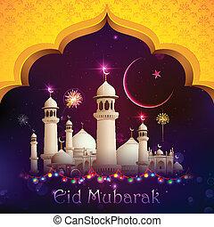 illustration of Eid Mubarak background with mosque