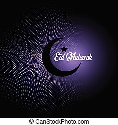 Eid Mubarak background with crescent on abstract polka dot background