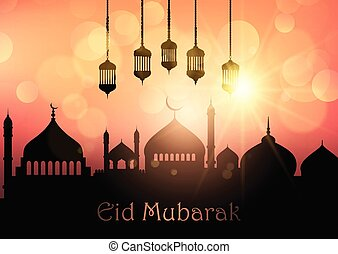 eid mubarak background with hanging lanterns and mosque silhouettes 1704