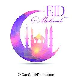 eid mubarak background with low poly design 2205 -...