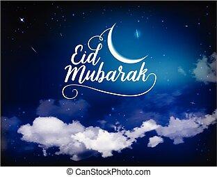 Eid Mubarak background with moon and stars, Ramadan Kareem....