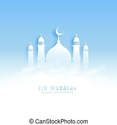 eid mubarak background with mosque and clouds