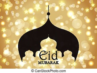 Eid Mubarak background with mosque silhouette on gold stars and bokeh lights