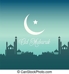 Eid Mubarak background with silhouettes of mosques