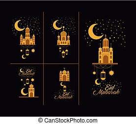 eid mubarak card with set icons