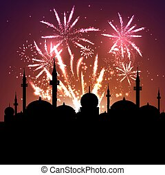 mosque silhouette on fireworks - Eid Mubarak celebration...