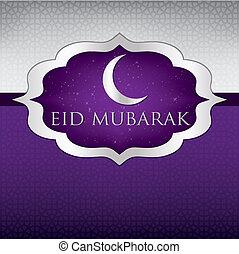 """Eid Mubarak! - Moon """"Eid Mubarak"""" (Blessed Eid) card in..."""