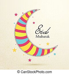 Eid Mubarak concept with colorful moon on light background...