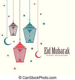 eid mubarak decorative lamps flat background