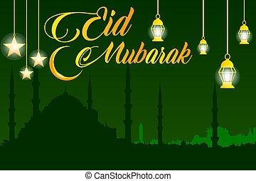Eid mubarak design vector background