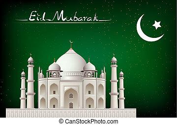Eid Mubarak - illustration of eid mubarak card with mosque...