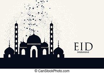 eid mubarak festival mosque greeting background