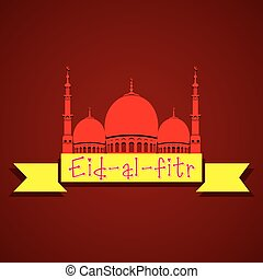 islamic religion eid festival greeting with mosque door ... |Eid Festival Poster