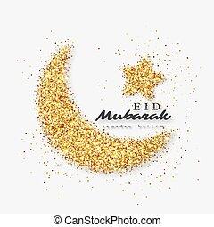 Eid Mubarak glitter design.