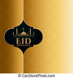 eid mubarak golden islamic card design