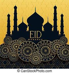 eid mubarak golden islamic decorative background